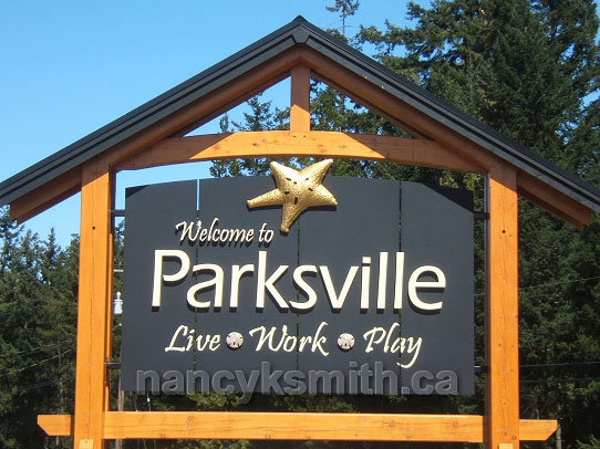 Photo of the Welcome to Parksville sign